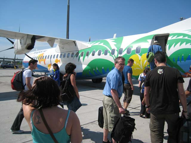 The plane to Trat, complete with cartoon fish...