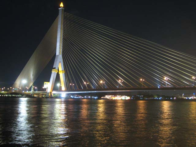 The Rama VIII bridge at night