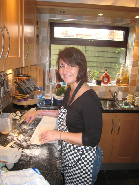 Tracy making sausage rolls on Christmas Eve