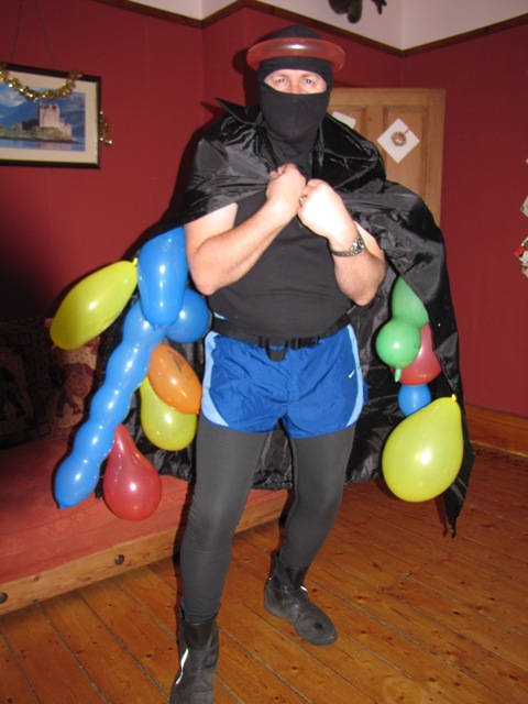 Balloon man - a cross between a Ninja and a balloon-blowing clown