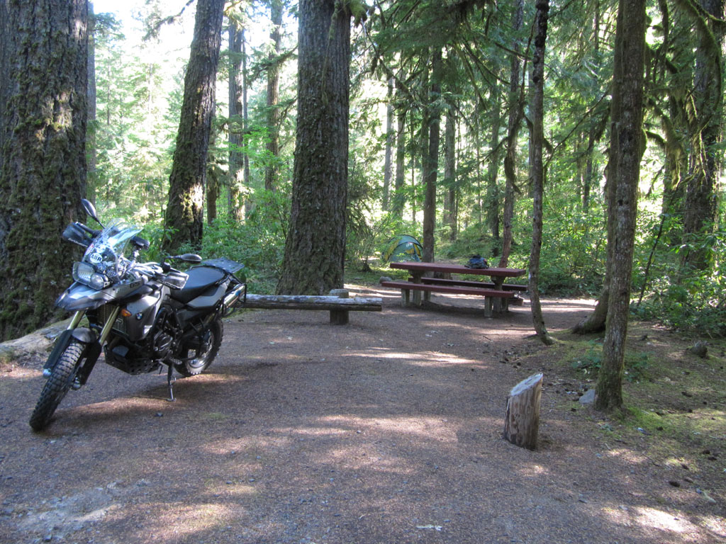 Campground in the Oregon forest - near Idanha