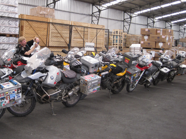 El Monstro in the warehouse ready to be shipped home...
