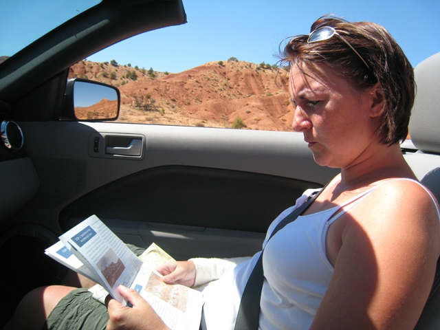 Tracy concentrates on her geology lesson…