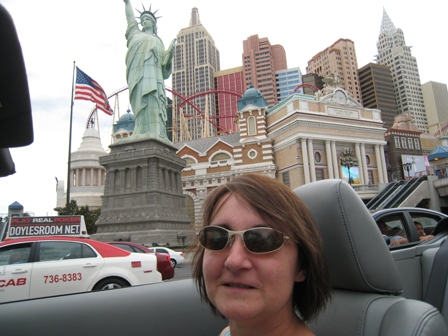 Tracy enjoys the sights, here outside New York, New York...
