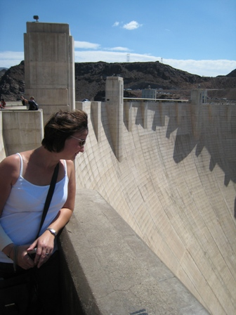 Tracy peers down the massive Hoover Dam...