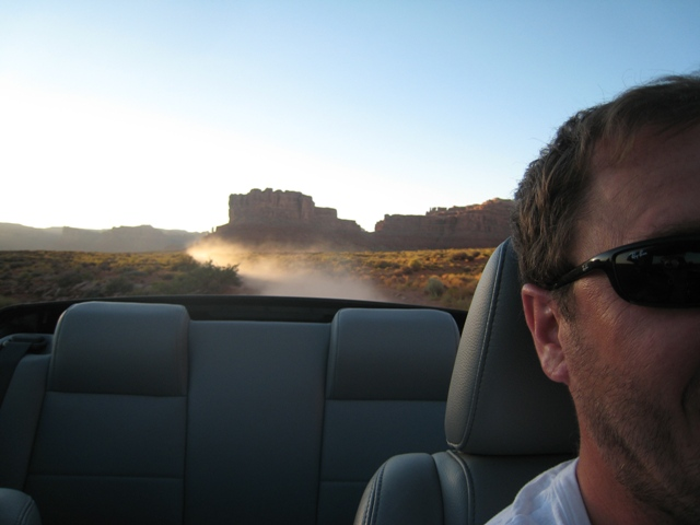 Boys will be boys… Paul gives the Mustang its head in the Valley of the Gods…