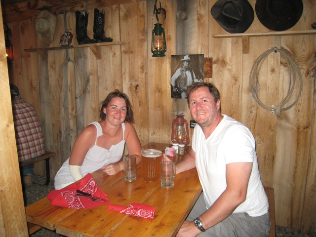 Tracy and Paul relax with a pitcher of cold beer…