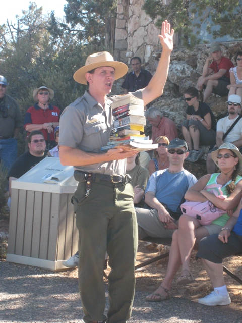 The Ranger shows how Uplift affects the books, sorry, rocks of the canyon…
