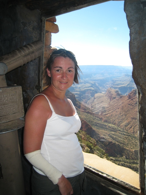 Tracy looks down on the canyon from the watchtower…