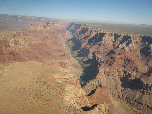 The Colorado River at the bottom of the canyon