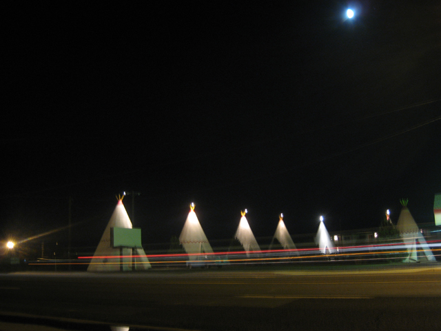 The wigwams look great at night…