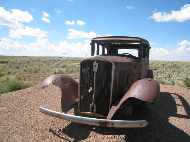 An abandoned car, sits on the original site where Route66 passed through the park…