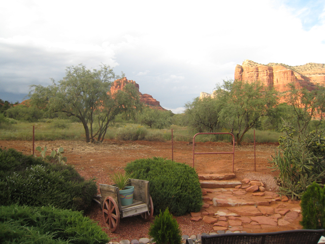 View from the patio at Cozy Cactus B&B, Oak Creek Village, Sedona …