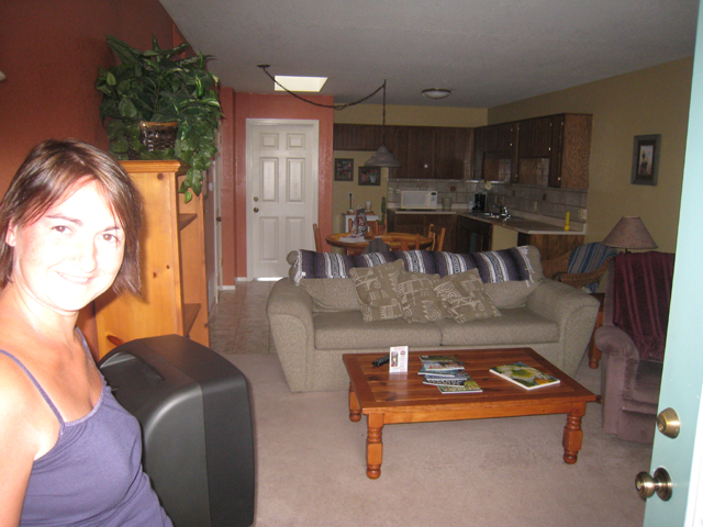 Tracy grins at the size of our suite…