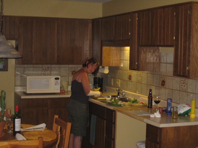 Tracy prepares our first meal in for almost 2 weeks…