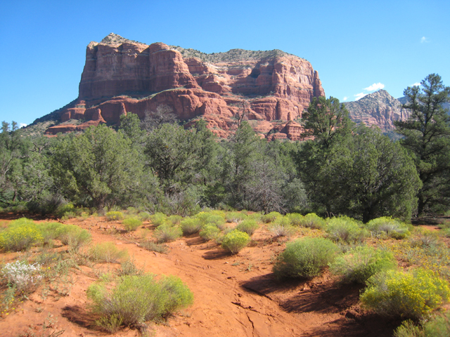 The start of the path leading to Courthouse Butte…