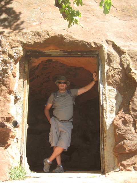 Paul in the doorway of the cave at the start of the West Fork trail…