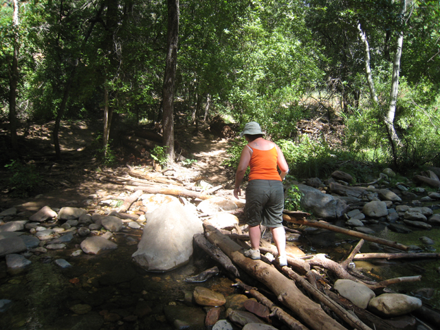 Tracy makes her way across another makeshift bridge…