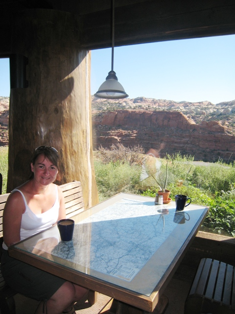 Tracy enjoys a strong coffee in the Kiva Coffee House