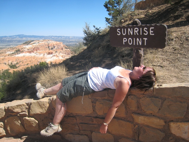 Tracy celebrates arriving back at the top of the canyon by lying down for a well-earned rest…